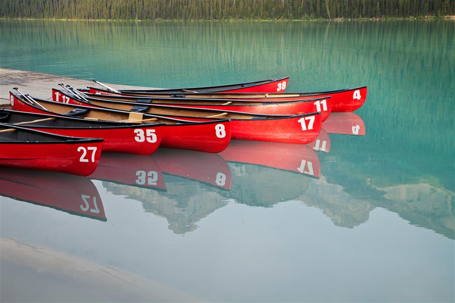 Original art for sale at UGallery.com | Red Canoes by ABHI GANJU | $125 |  | ' h x ' w | http://www.ugallery.com/photography-red-canoes