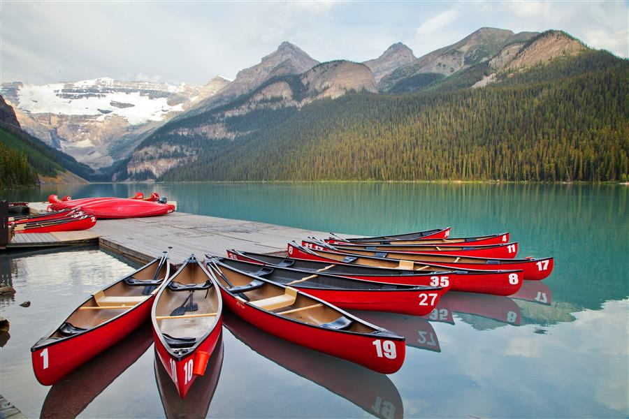 Original art for sale at UGallery.com | Lake Louise Canoes 1 by ABHI GANJU | $145 |  | ' h x ' w | http://www.ugallery.com/photography-lake-louise-canoes-1