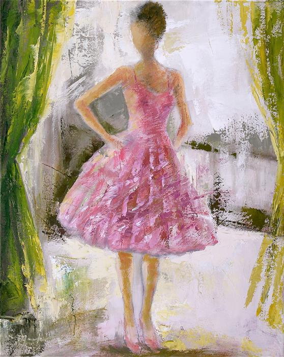Discover Original Art by Naoko Paluszak | The Girl in the Pink Taffeta oil painting | Art for Sale Online at UGallery