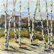 Impressionism art,Landscape art,Nature art,Representational art,oil painting,Birch Eloquence
