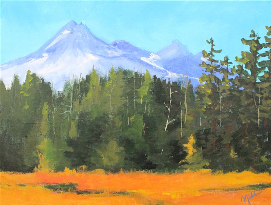 Original art for sale at UGallery.com | Broken Top Mountain by NANCY MERKLE | $825 | Acrylic painting | 18' h x 24' w | http://www.ugallery.com/acrylic-painting-broken-top-mountain