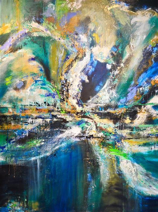 Original art for sale at UGallery.com | Blue Tide by DL WATSON | $4,025 | Acrylic painting | 48' h x 36' w | http://www.ugallery.com/acrylic-painting-blue-tide