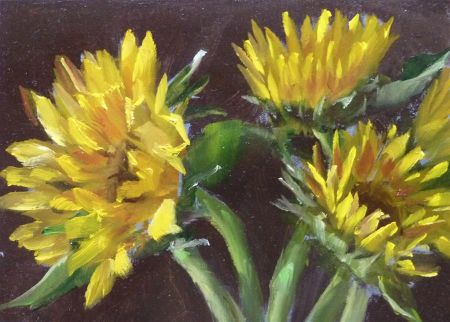 Discover Original Art by Gary Bruton | Sunflowers oil painting | Art for Sale Online at UGallery