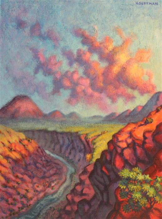 Original art for sale at UGallery.com | Sheep's Crossing, Near Questa by JAKKI KOUFFMAN | $750 | Acrylic painting | 16' h x 12' w | http://www.ugallery.com/acrylic-painting-sheep-s-crossing-near-questa