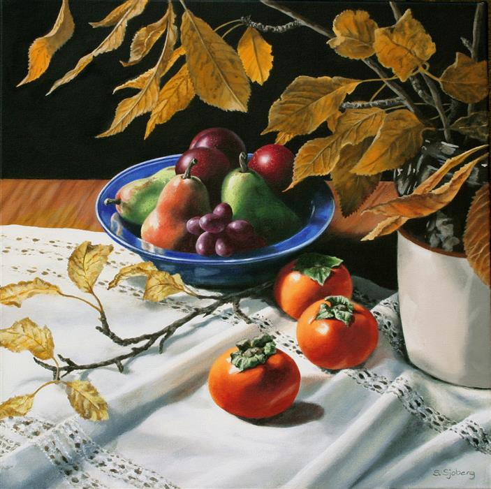 Original art for sale at UGallery.com | Still Life with Persimmons by SUSAN SJOBERG | $2,075 | Acrylic painting | 20' h x 20' w | http://www.ugallery.com/acrylic-painting-still-life-with-persimmons