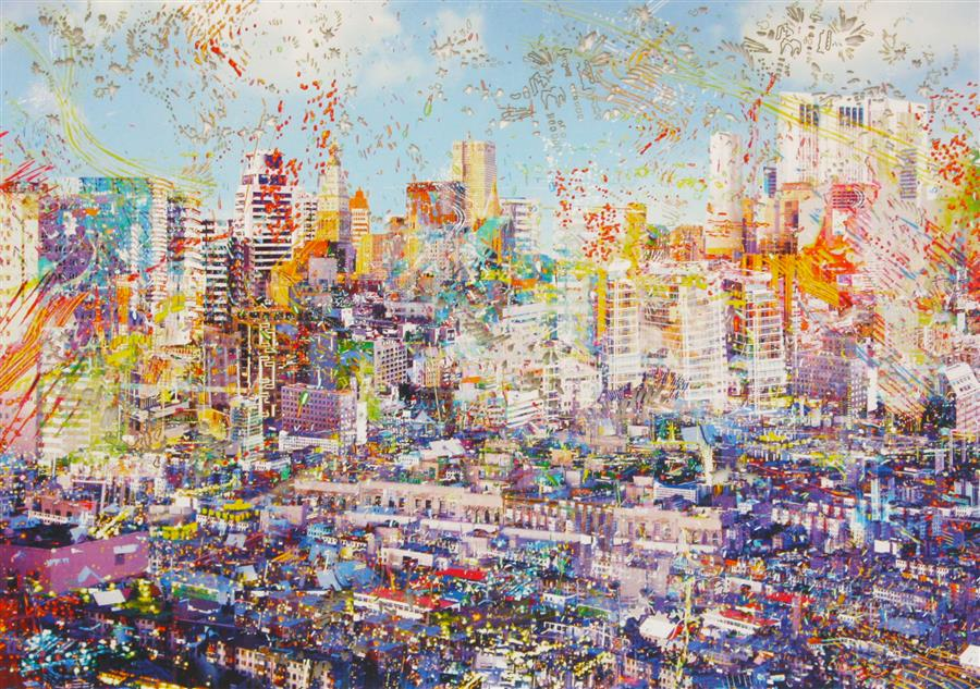 Original art for sale at UGallery.com | Downtown Kyomah by REBECCA  KING | $525 | Mixed media artwork | 18' h x 25.5' w | http://www.ugallery.com/mixed-media-artwork-downtown-kyomah
