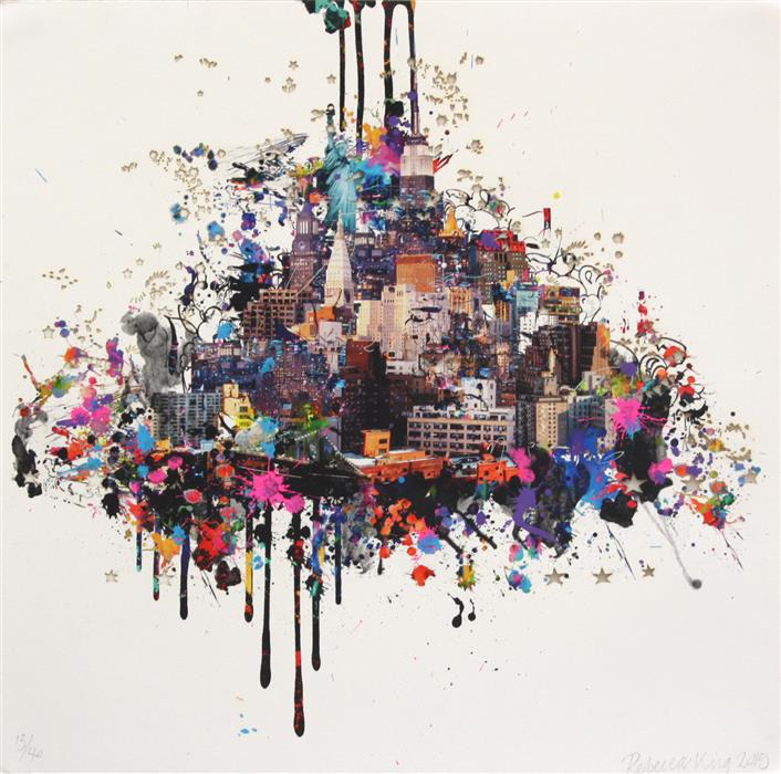 Original art for sale at UGallery.com | New Yorker by REBECCA  KING | $650 | Mixed media artwork | 20' h x 20' w | http://www.ugallery.com/mixed-media-artwork-new-yorker