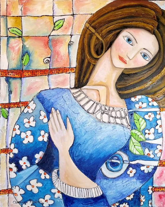 Discover Original Art by Clemence Dubois | The Young Girl and the Floral Dress mixed media artwork | Art for Sale Online at UGallery