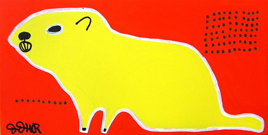 Original art for sale at UGallery.com | Yellow Groundhog by JESSICA JH ROLLER | $525 | Acrylic painting | 10' h x 20' w | http://www.ugallery.com/acrylic-painting-yellow-groundhog