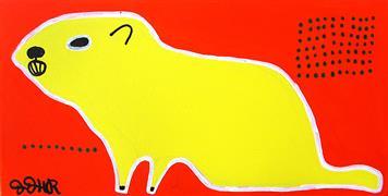 Animals art,Pop art,Representational art,Primitive art,acrylic painting,Yellow Groundhog