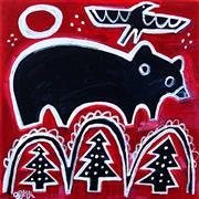 Animals art,Representational art,Primitive art,acrylic painting,Baby Bear on Red