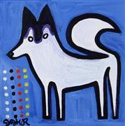 Animals art,Representational art,Primitive art,acrylic painting,Siberian Husky