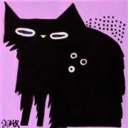 Animals art,Representational art,Primitive art,acrylic painting,Shaggy Cat