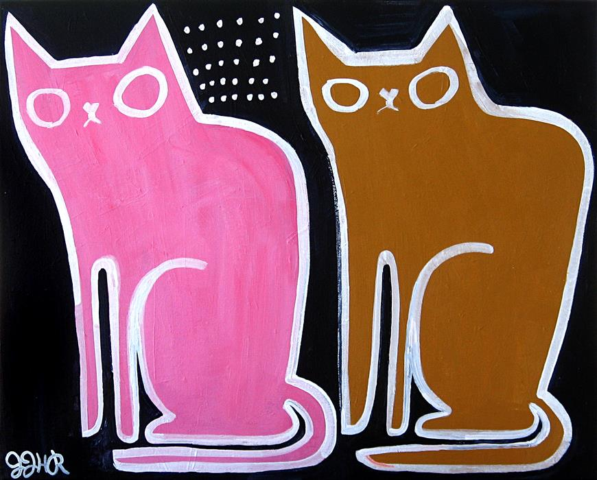 Original art for sale at UGallery.com | Two Old Cats by JESSICA JH ROLLER | $575 | Acrylic painting | 16' h x 20' w | http://www.ugallery.com/acrylic-painting-two-old-cats