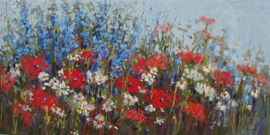 Original art for sale at UGallery.com | Poppy Field #3 by TRICIA MAY | $1,875 | Oil painting | 18' h x 36' w | http://www.ugallery.com/oil-painting-poppy-field-3