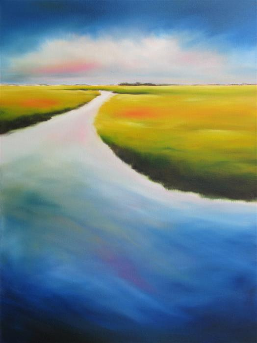 Original art for sale at UGallery.com | Inlet Marshscape by NANCY HUGHES MILLER | $975 | Oil painting | 24' h x 18' w | http://www.ugallery.com/oil-painting-inlet-marshscape