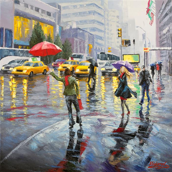 Original art for sale at UGallery.com | Busy New York Street by STANISLAV SIDOROV | $1,200 | Oil painting | 24' h x 24' w | http://www.ugallery.com/oil-painting-busy-new-york-street