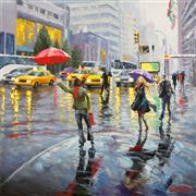 Architecture art,Impressionism art,People art,Travel art,Representational art,oil painting,Busy New York Street
