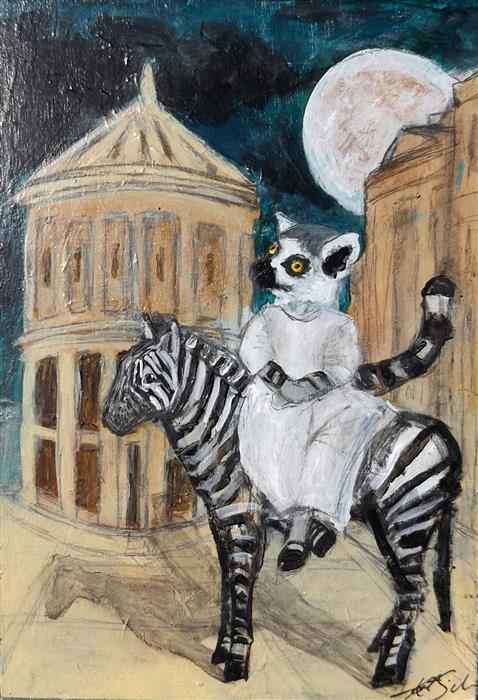 Discover Original Art by Kat Silver | Lemur and her Zebra acrylic painting | Art for Sale Online at UGallery