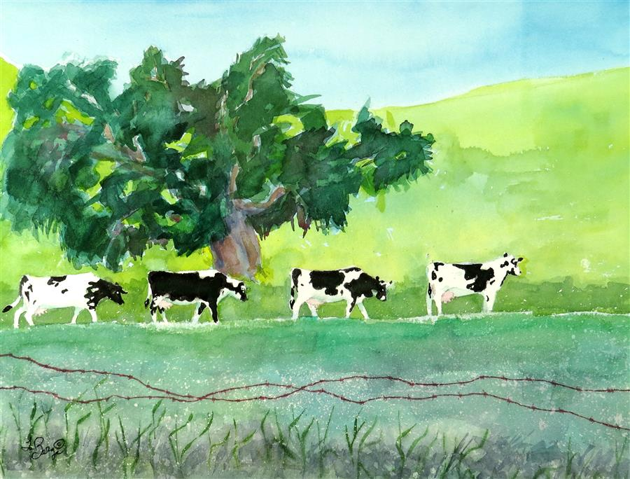 Original art for sale at UGallery.com | Cows at Work by NANCY MUREN | $600 | Watercolor painting | 17' h x 22' w | http://www.ugallery.com/watercolor-painting-cows-at-work