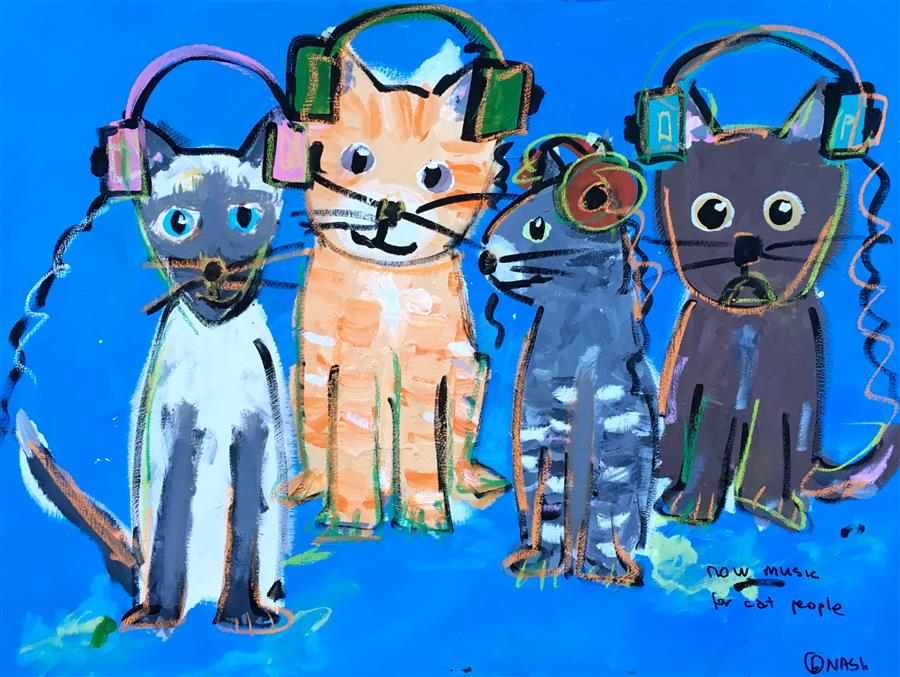Discover Original Art by Brian Nash | Now Music for Cat People acrylic painting | Art for Sale Online at UGallery
