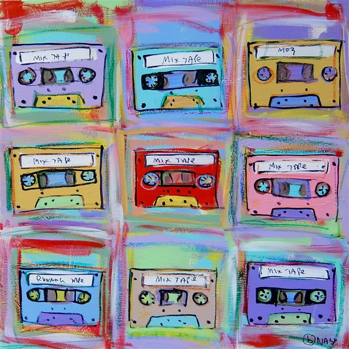 Original art for sale at UGallery.com | Mix Tapes by BRIAN NASH | $950 | Acrylic painting | 30' h x 30' w | http://www.ugallery.com/acrylic-painting-mix-tapes