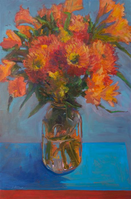 Original art for sale at UGallery.com | Orange Dahlias by JANET HOWARD-FATTA | $1,000 | Oil painting | 25' h x 17' w | http://www.ugallery.com/oil-painting-orange-dahlias
