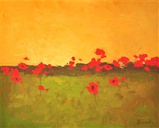 Impressionism art,Landscape art,Flora art,Representational art,acrylic painting,Red Pops