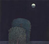 Landscape art,Surrealism art,Representational art,printmaking,Fully Moon
