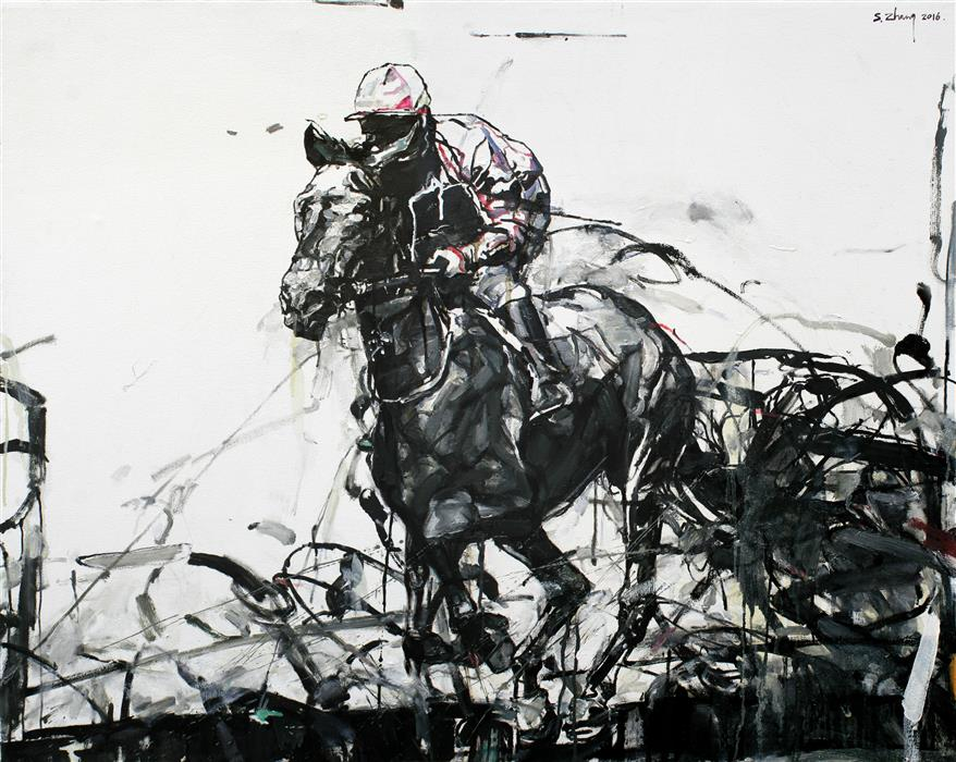 Original art for sale at UGallery.com | Race Track by SHAO YUAN ZHANG | $6,200 | Oil painting | 37.25' h x 46.5' w | http://www.ugallery.com/oil-painting-race-track