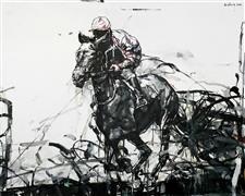 Expressionism art,Animals art,Sports art,Representational art,oil painting,Race Track