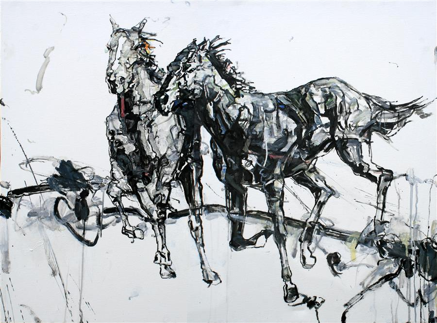 Original art for sale at UGallery.com | The Races by SHAO YUAN ZHANG | $6,175 | Oil painting | 36' h x 48' w | http://www.ugallery.com/oil-painting-the-races