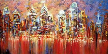 Architecture art,Expressionism art,Representational art,acrylic painting,Philadelphia Experiment