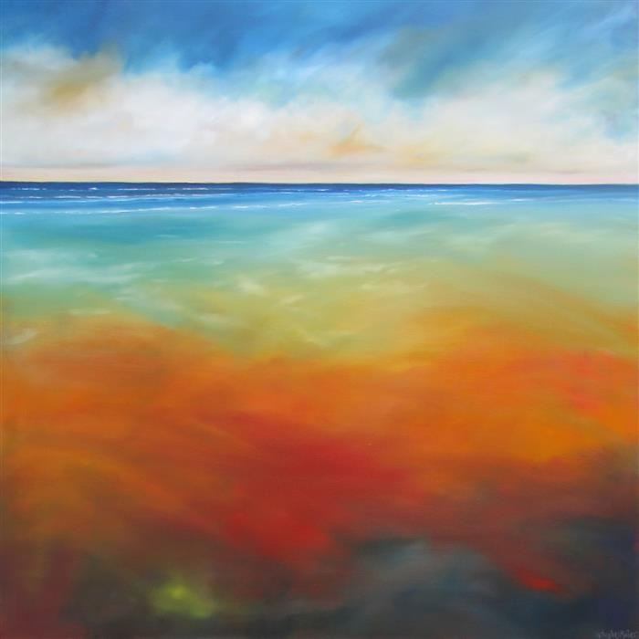 Original art for sale at UGallery.com | Cool Hot Beach by NANCY HUGHES MILLER | $1,775 | Oil painting | 36' h x 36' w | http://www.ugallery.com/oil-painting-cool-hot-beach