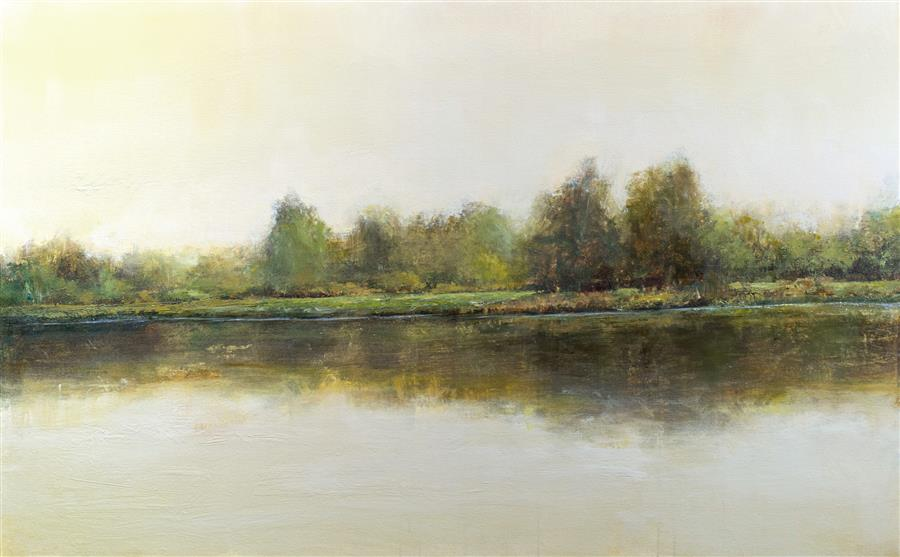 Original art for sale at UGallery.com | Pond Reflection 3-30 by DON BISHOP | $3,050 | Acrylic painting | 30' h x 48' w | http://www.ugallery.com/acrylic-painting-pond-reflection-3-30