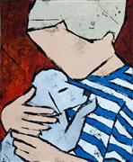 Animals art,People art,Representational art,Primitive art,acrylic painting,Boy with Puppy