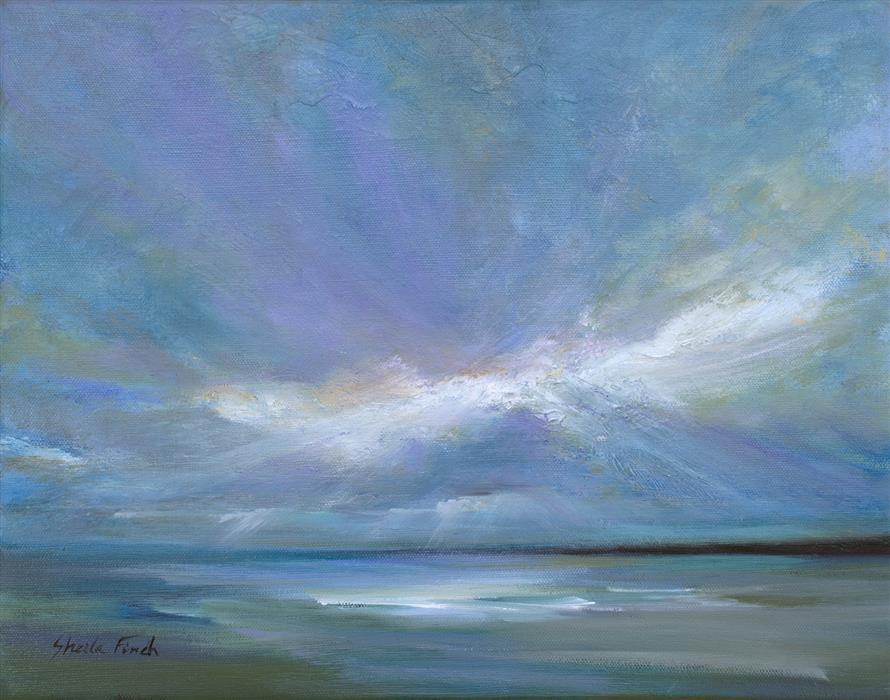 Original art for sale at UGallery.com | Coastal Clouds XXII by SHEILA FINCH | $950 | Oil painting | 11' h x 14' w | http://www.ugallery.com/oil-painting-coastal-clouds-xxii