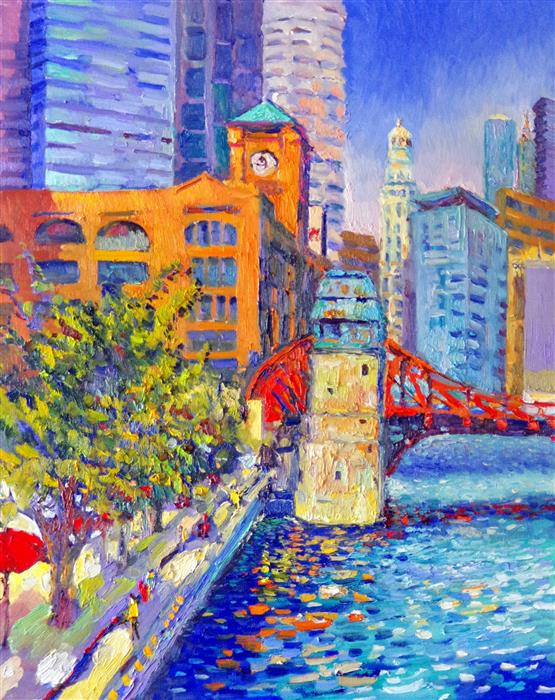 Discover Original Art by Suren Nersisyan | Chicago, Britannica Building, (Early Evening) oil painting | Art for Sale Online at UGallery