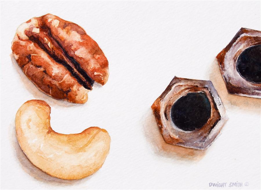 Original art for sale at UGallery.com | Nuts by DWIGHT SMITH | $200 | Watercolor painting | 5' h x 7' w | http://www.ugallery.com/watercolor-painting-nuts