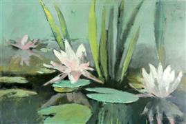 Impressionism art,Nature art,Flora art,Representational art,oil painting,Pond