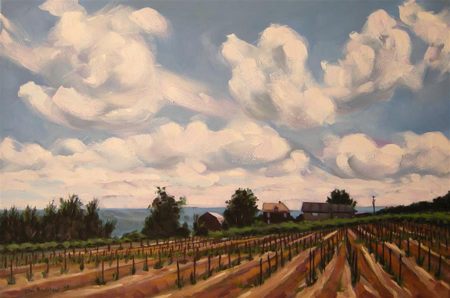 Discover Original Art by Ellen Bradshaw | Rolling Clouds, Konstantin Frank Vineyards oil painting | Art for Sale Online at UGallery