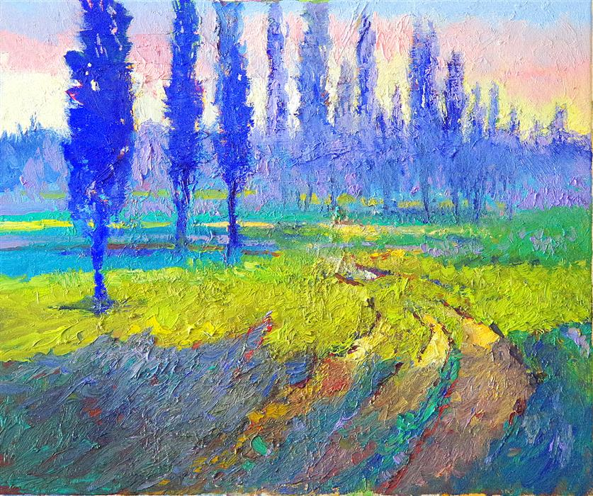 Discover Original Art by Suren Nersisyan | Blue Poplars and Green Fields (Morning) oil painting | Art for Sale Online at UGallery