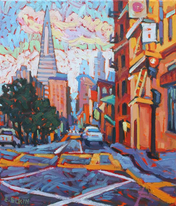 Original art for sale at UGallery.com | In San Francisco by ELIZABETH ELKIN | $700 | Oil painting | 14' h x 12' w | http://www.ugallery.com/oil-painting-in-san-francisco