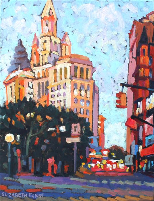 Discover Original Art by Elizabeth Elkin | NYC at Evening Time oil painting | Art for Sale Online at UGallery
