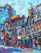Architecture art,Impressionism art,Travel art,Representational art,oil painting,Toronto Street