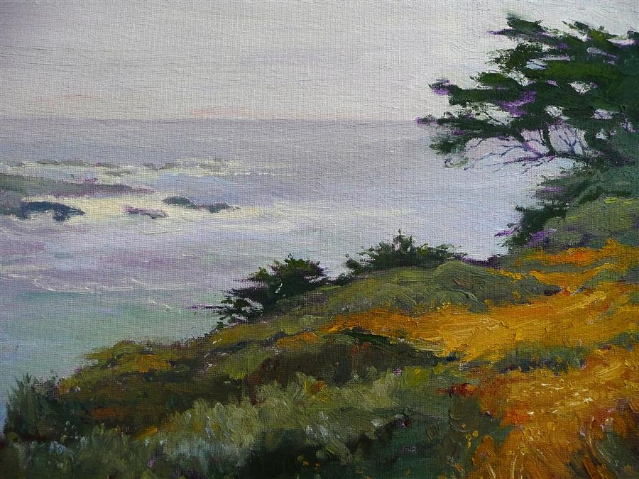 Original art for sale at UGallery.com | Coastal Mist by CELESTE  DECOUDRES | $600 | Oil painting | 11' h x 14' w | http://www.ugallery.com/oil-painting-coastal-mist