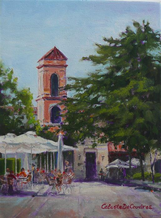 Discover Original Art by Celeste  DeCoudres | Plaza in Ronda oil painting | Art for Sale Online at UGallery