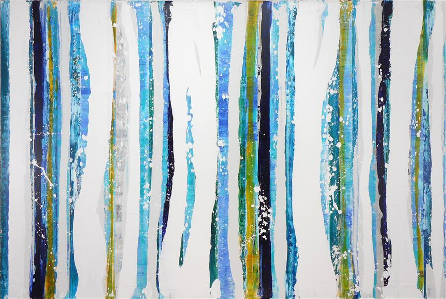 Original art for sale at UGallery.com | Cyanite by LISA CARNEY | $1,700 | Acrylic painting | 36' h x 54' w | http://www.ugallery.com/acrylic-painting-cyanite