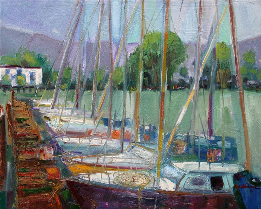 Original art for sale at UGallery.com | Alameda Boats by JAMES HARTMAN | $1,200 | Oil painting | 24' h x 30' w | http://www.ugallery.com/oil-painting-alameda-boats
