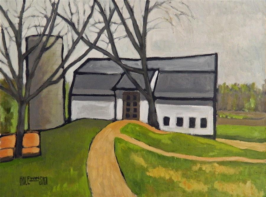 Discover Original Art by Robert  Holewinski | Barn with Two Trees oil painting | Art for Sale Online at UGallery